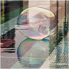 colored skyline in a bubble