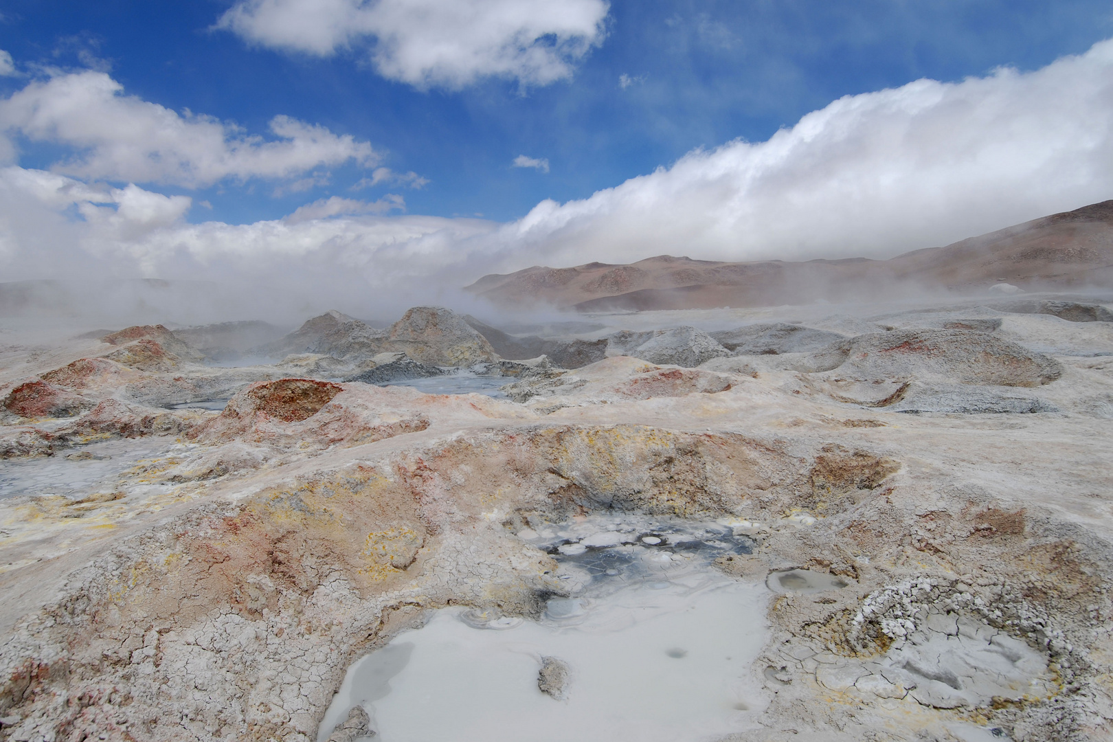 Colorful geysers in Bolivia
