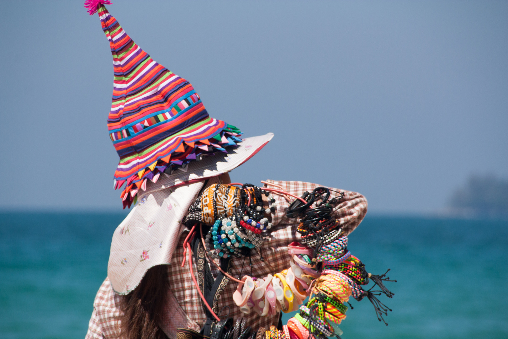 Colourful Lady at the beach