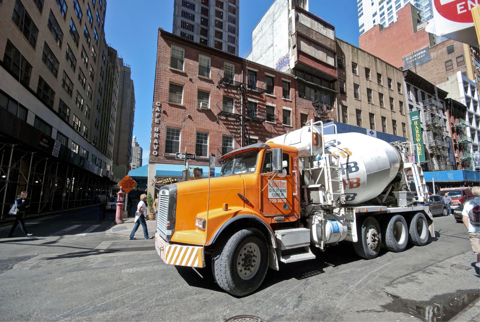 Concrete Mixer Lorry close to Ground Zero
