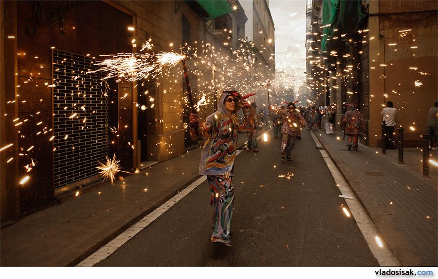 Correfoc at Fiesta de Gracia, Barcelona, Spain