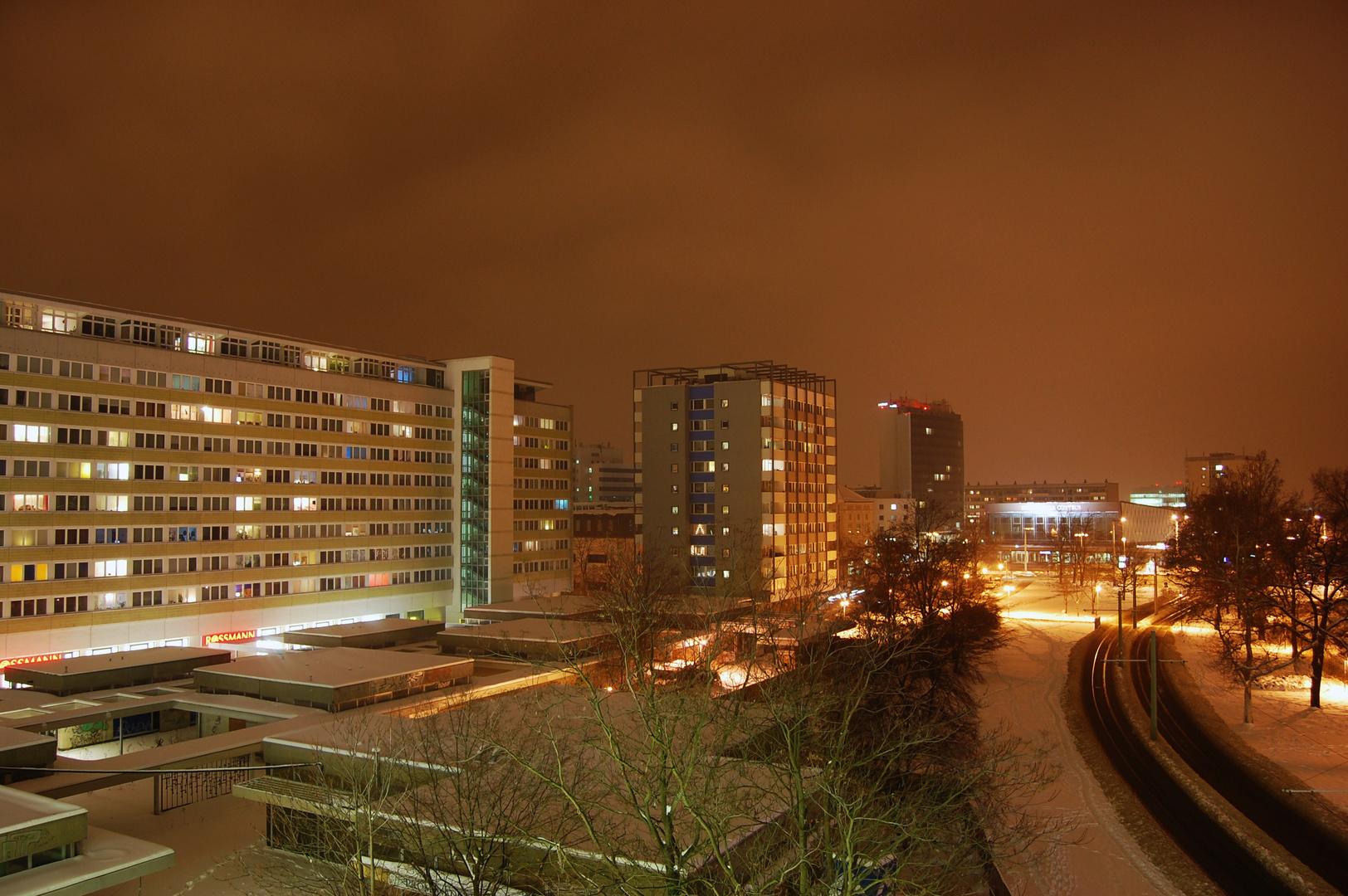 Cottbus Stadtmitte bei Nacht