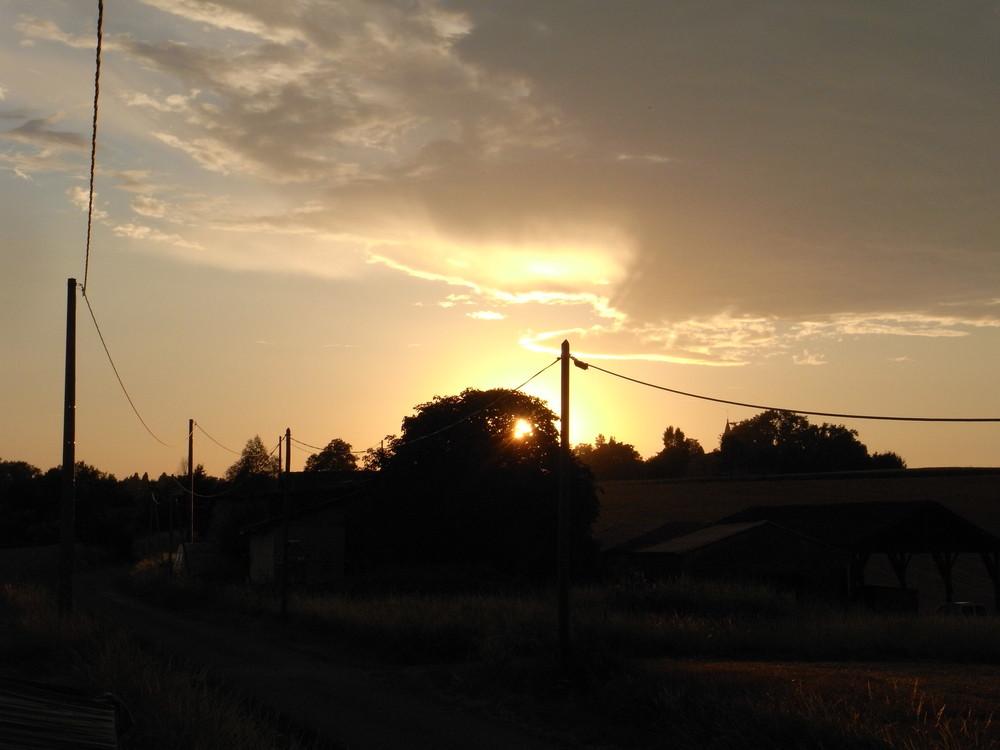couche de soleil en campagne