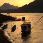 coucher de soleil sur le Mékong