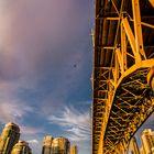 coucher de soleil sur le pont de granville