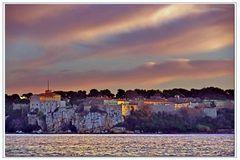 coucher de soleil sur les iles...