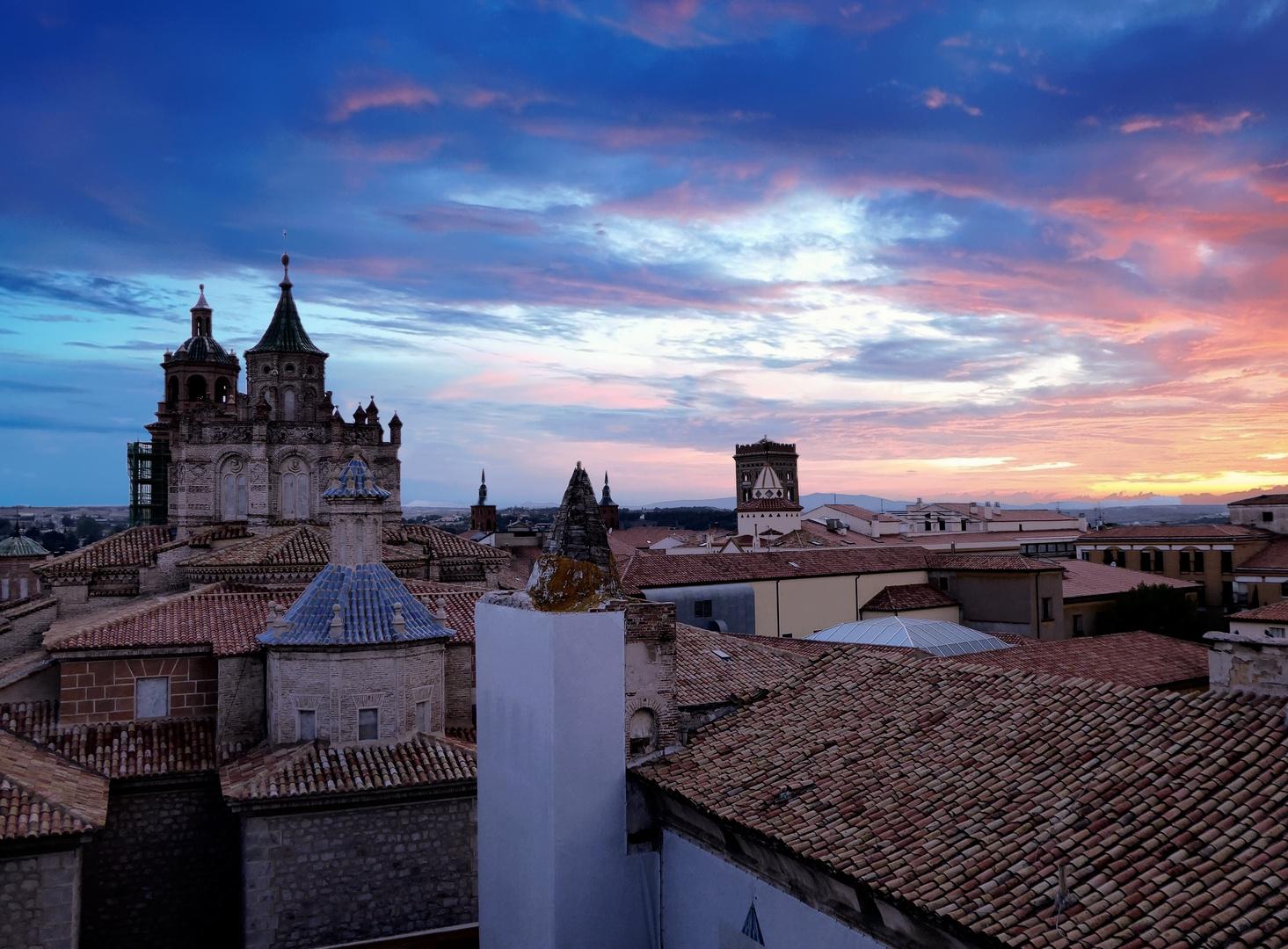 coucher de soleil sur Teruel