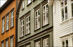 Coulored and white  wooden houses