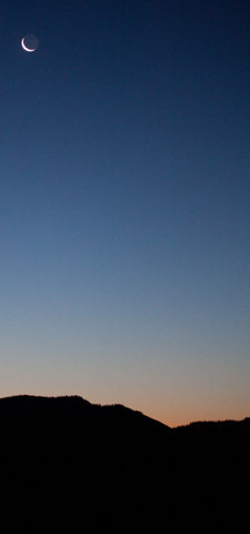 Cresent Moon at Sunrise on Shadow Mountain
