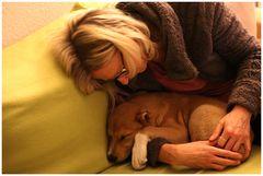 Da schläft er in meinem Arm...