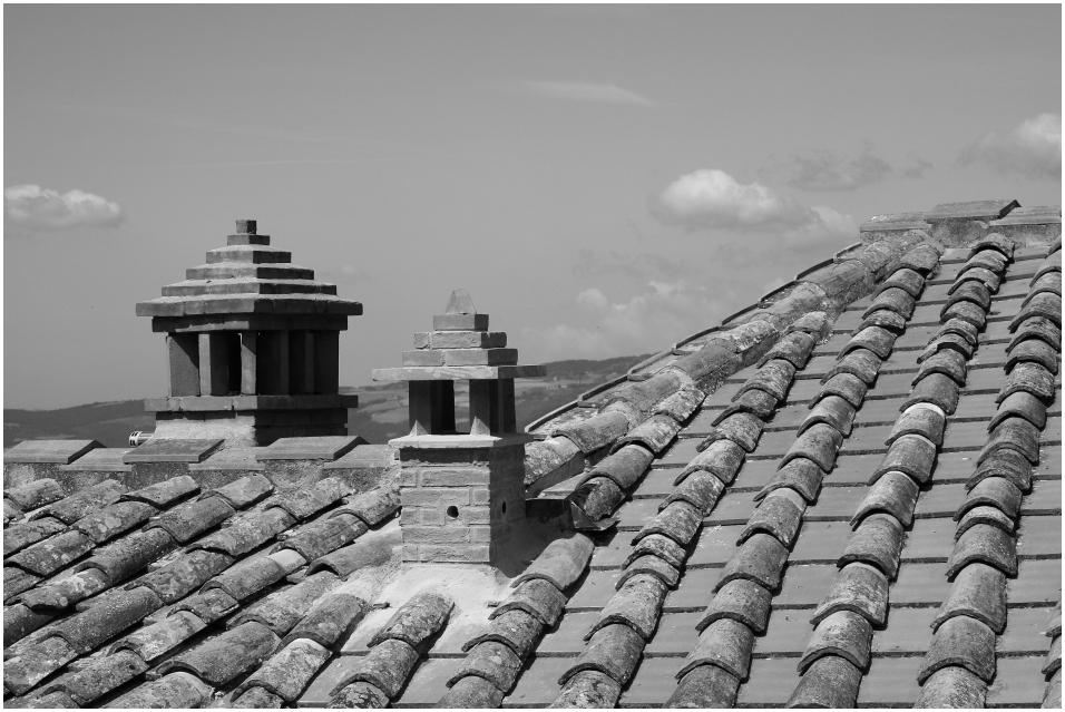 Dach eines Hauses in Volterra
