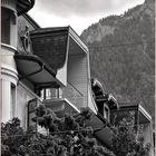 Dachlandschaft in der Stadt Brig, Wallis