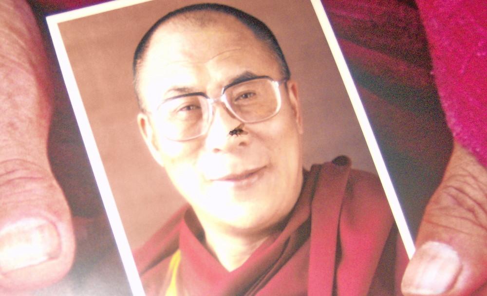 Dalai Lama mit Fliege auf der Nase