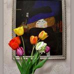 Dame mit Hut und Federboa Acryl 50x60cm