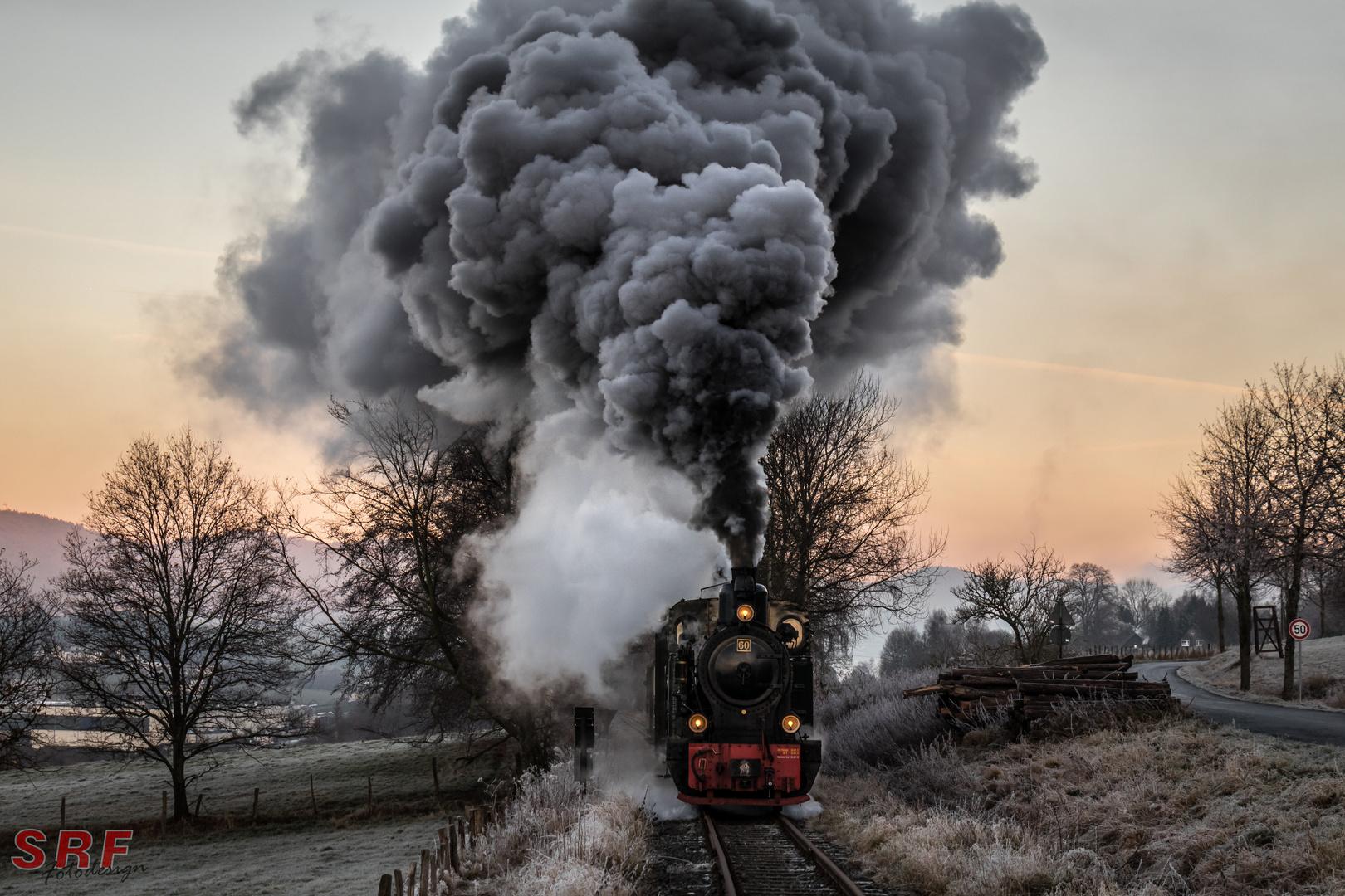 Dampflokomotive im Winter