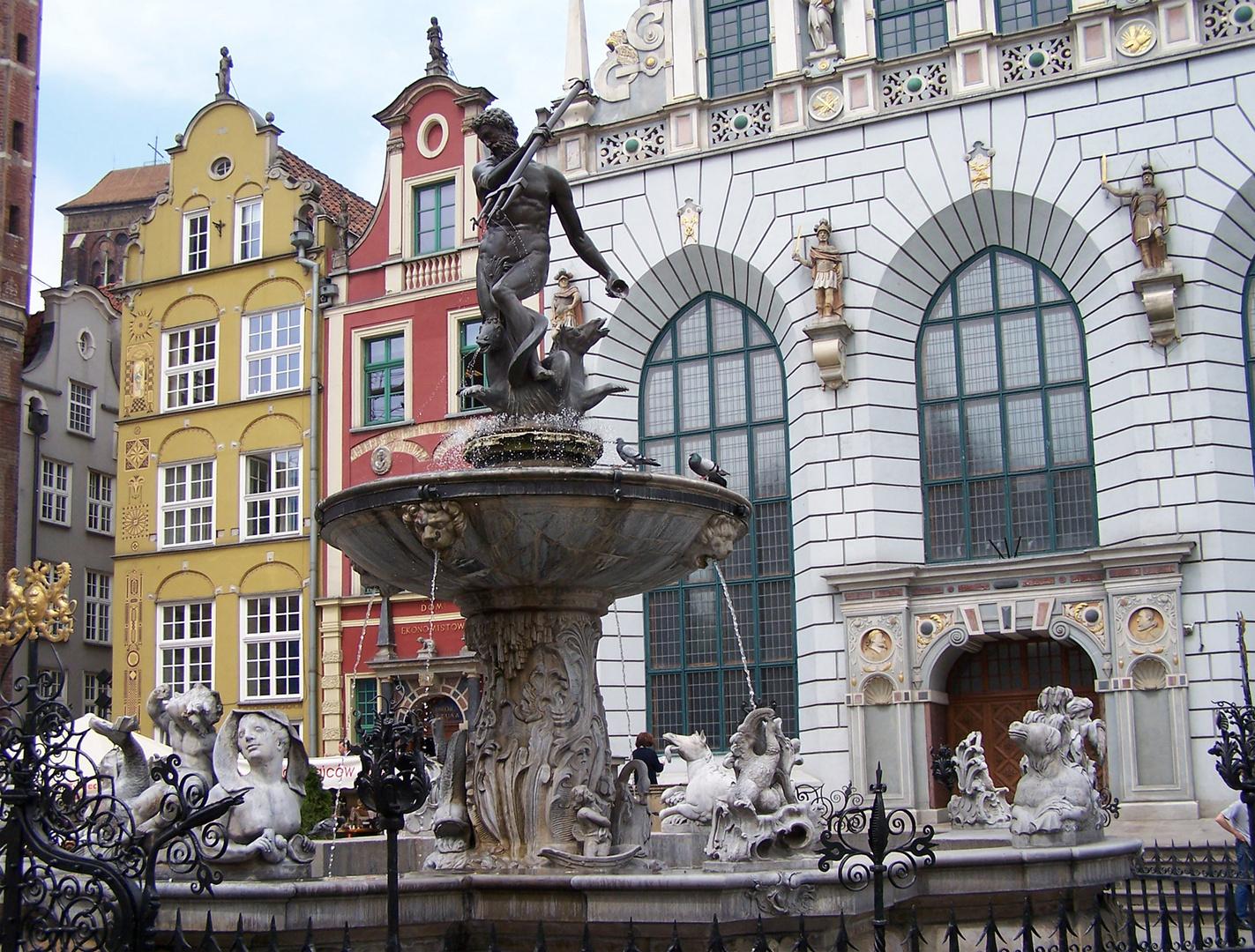 Danzig, Neptunbrunnen u. Artushof