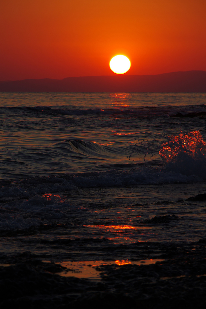 Dark Red Sunset at Pantazi Beach