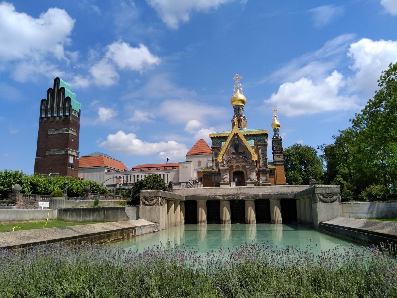 Darmstadt (1) - Hochzeitsturm und Russisch-orthodoxe Kirche auf der Mathildenhöhe