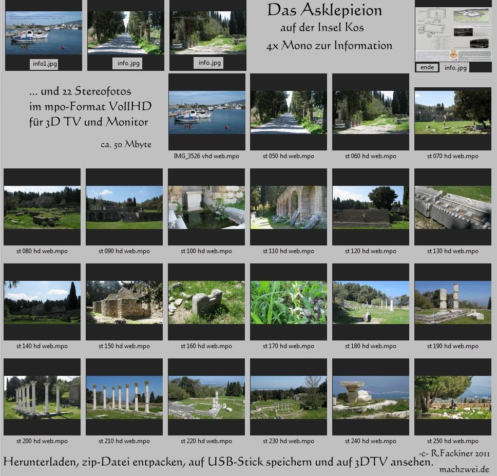 Das Asklepieion auf Kos in 3D : 22 Fotos VollHD 3D in Diaschau r 3D-Tv und 3D-Monitore