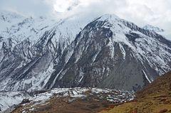 Das Bergdorf Samdo in der Manaslu-Region von oben