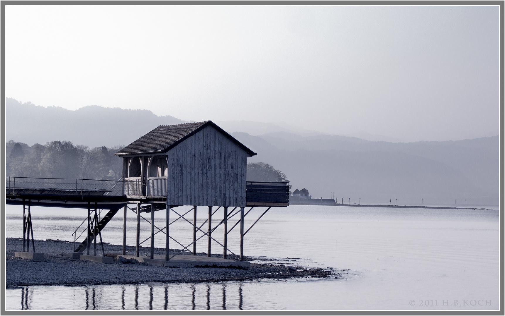 Das Bootshaus am Morgen