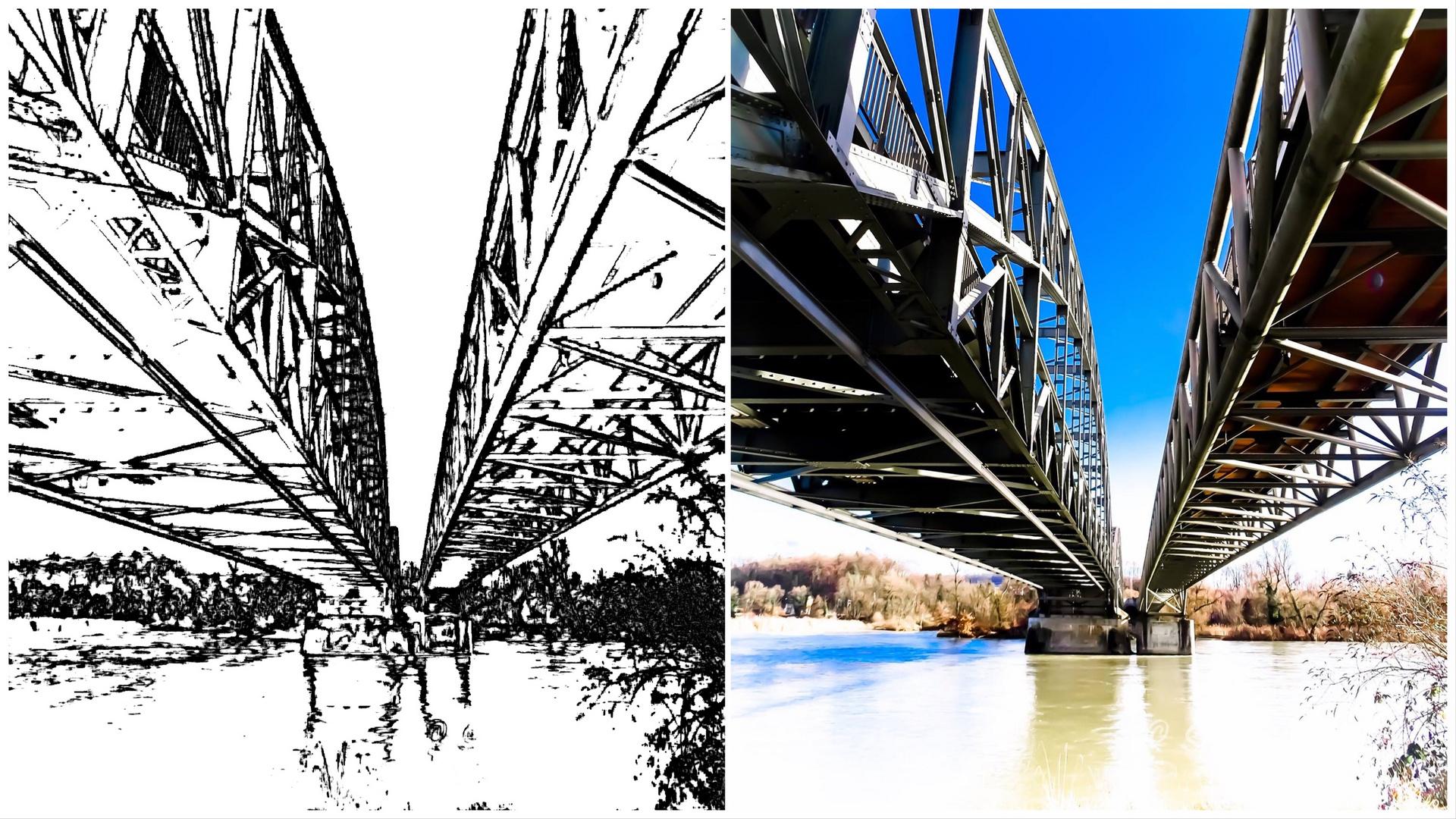 Das Brücken Foto mal als Zeichnung