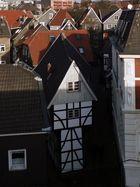 """Das """"Bügeleisenhaus"""" von oben gesehen."""