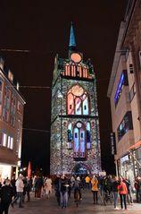 Das Kröpeliner Tor zur Lichtwoche 2020 in Rostock
