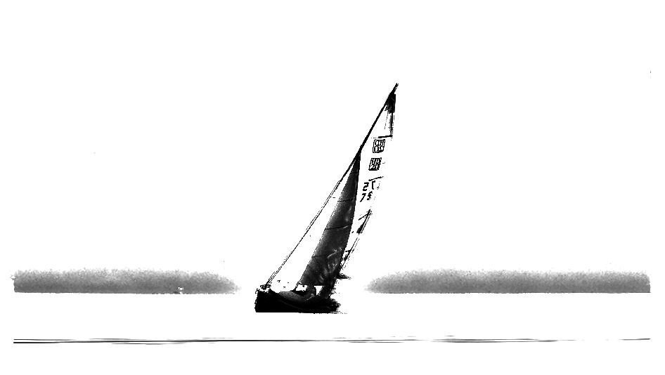 Das Segelboot nur noch als Silhouette