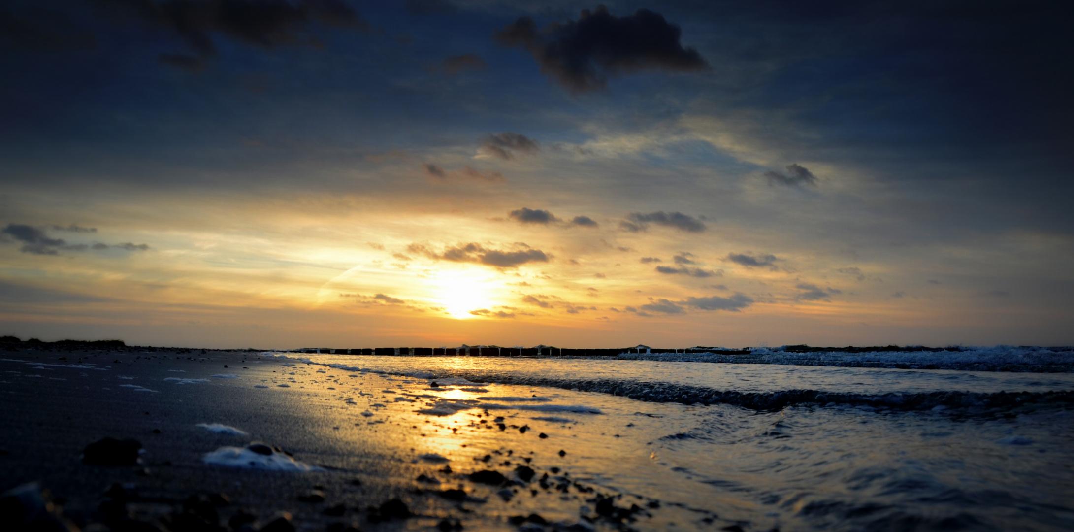 de Zeit am Strand geht zu ende