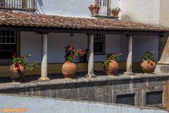 Dekorative Säulen am Haus mit grossen Blumenvasen