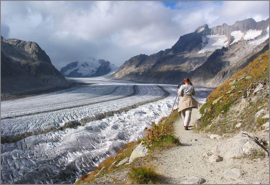 dem Aletschgletscher nach (vor 14 Jahren...)