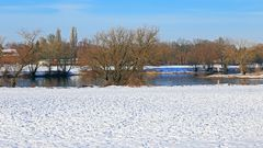Der Beginn einer kleinen Insel in der Elbe bei Pillnitz...