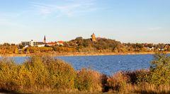 Der Blick über den großem Goitzschesee nach Pouch