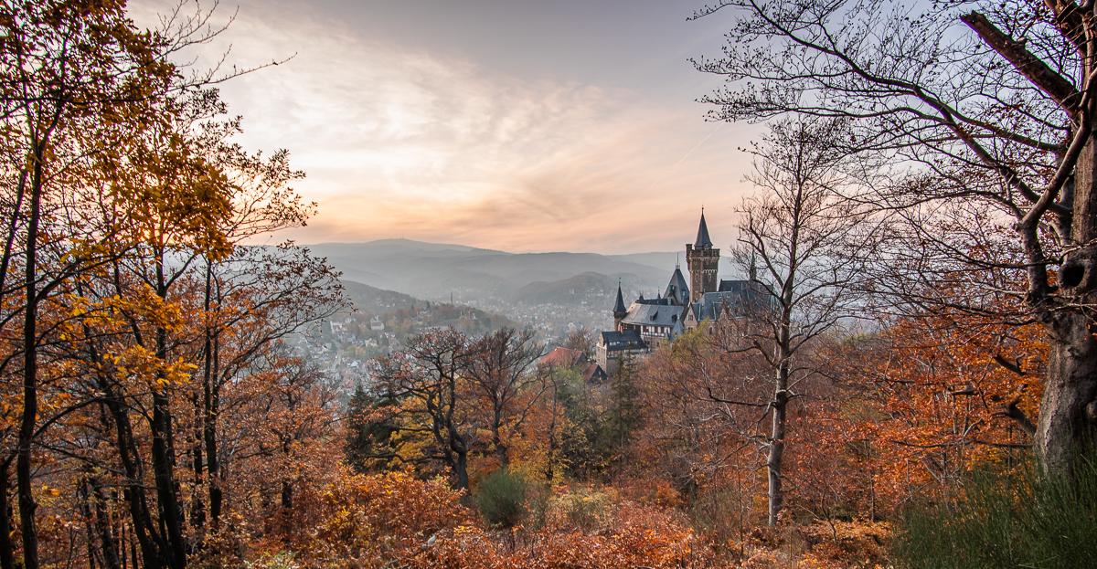 Der Blick vom Schloss Wernigerode bis zum Brocken