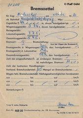 Der Bremszettel von 01 2118 vom 5. Jauar 1982
