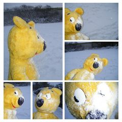 Der gelbe Bär bei der Schneeballschlacht