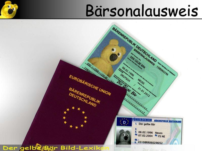 Der gelbe Bär Bild-Lexikon - Bärsonalausweis
