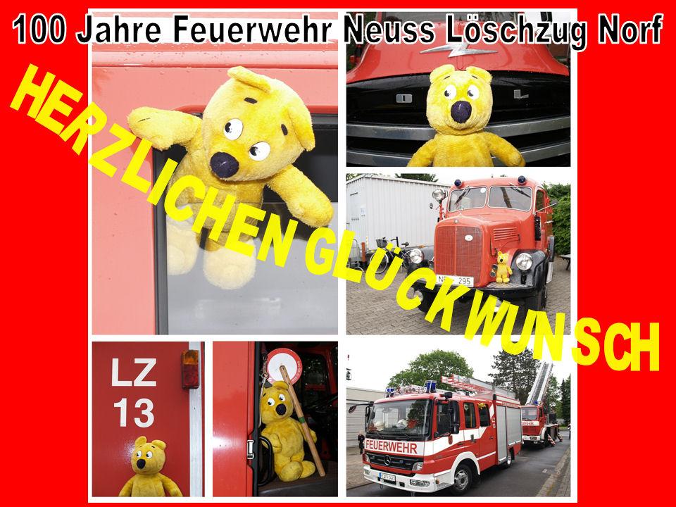 Der gelbe Bär gratuliert dem Löschzug Norf