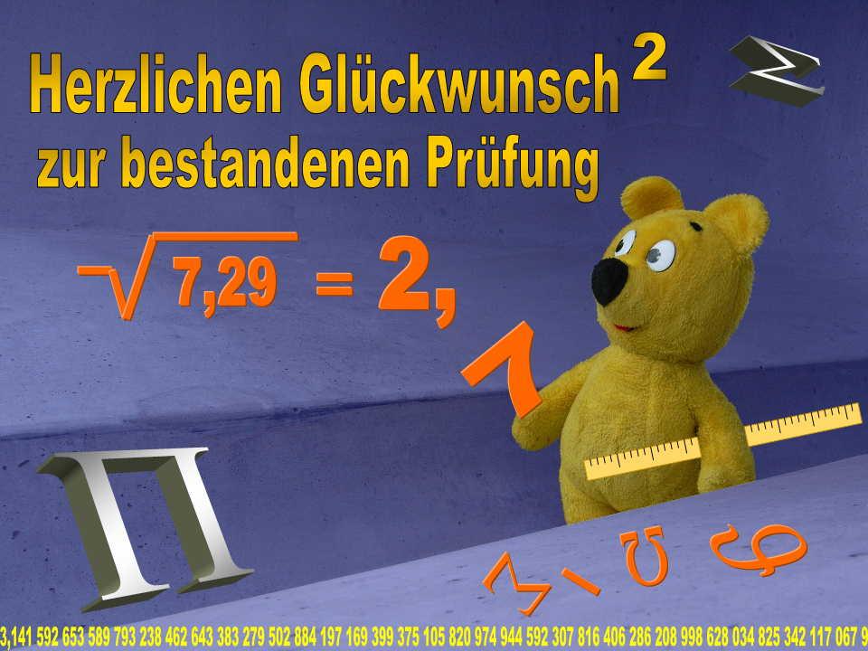Der gelbe Bär gratuliert zur bestandenen Prüfung