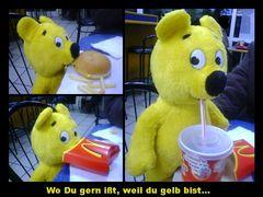 Der gelbe Bär hilft...Burger essen