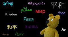 Der gelbe Bär wünscht allen Menschen Frieden