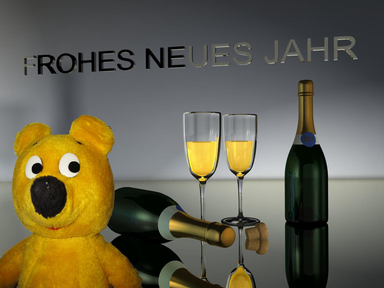Der gelbe Bär wünscht ein >>Frohes Neues Jahr Foto & Bild   quatsch ...