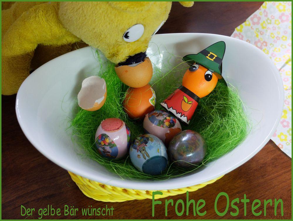 Der gelbe Bär wünscht Euch frohe Ostertage