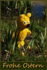 Der gelbe Bär wünscht Frohe Ostern