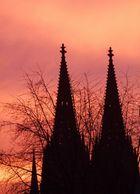 Der Kölner Dom im Abendrot