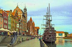 DER Liegeplatz der Mottlau in Gdansk, für die Kogge.