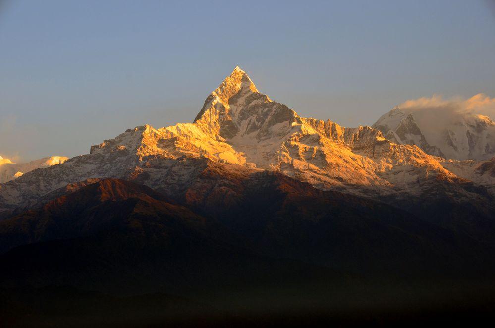Der Machhapuchre (6993m) vom Aussichtspunkt Sarangkot (1600m) am frühen Morgen