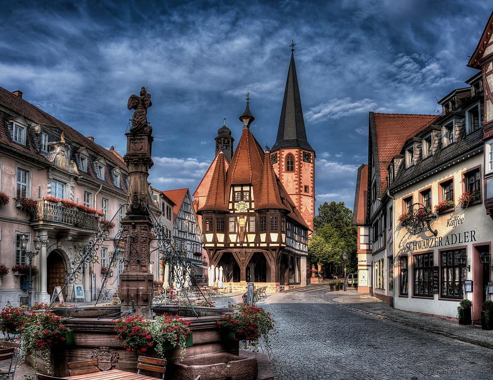 Der Marktplatz von Michelstadt/Odw.