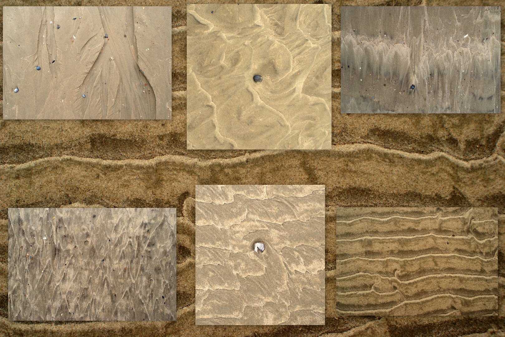 Der Meeresboden, kreativ gestaltet durch die Gezeiten.